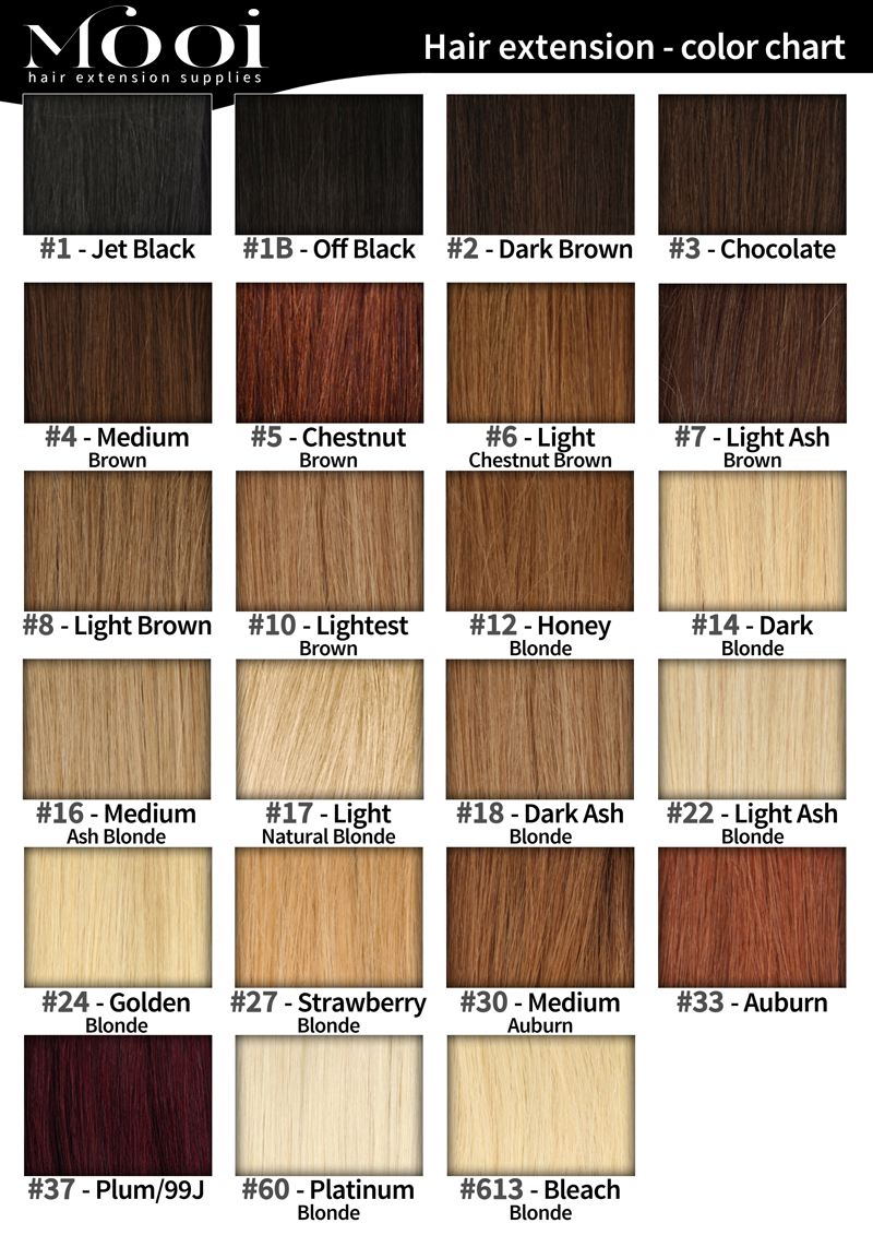 Colour Chart Mooi Hair Extensions